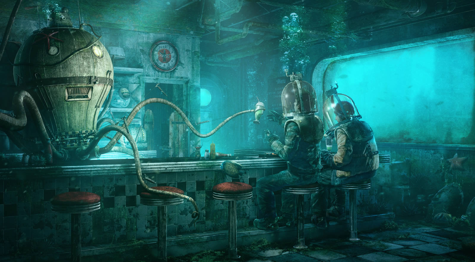 Octopus Diner Digital paintings FantasyCoolvibe  : abeer from coolvibe.com size 1600 x 884 jpeg 212kB