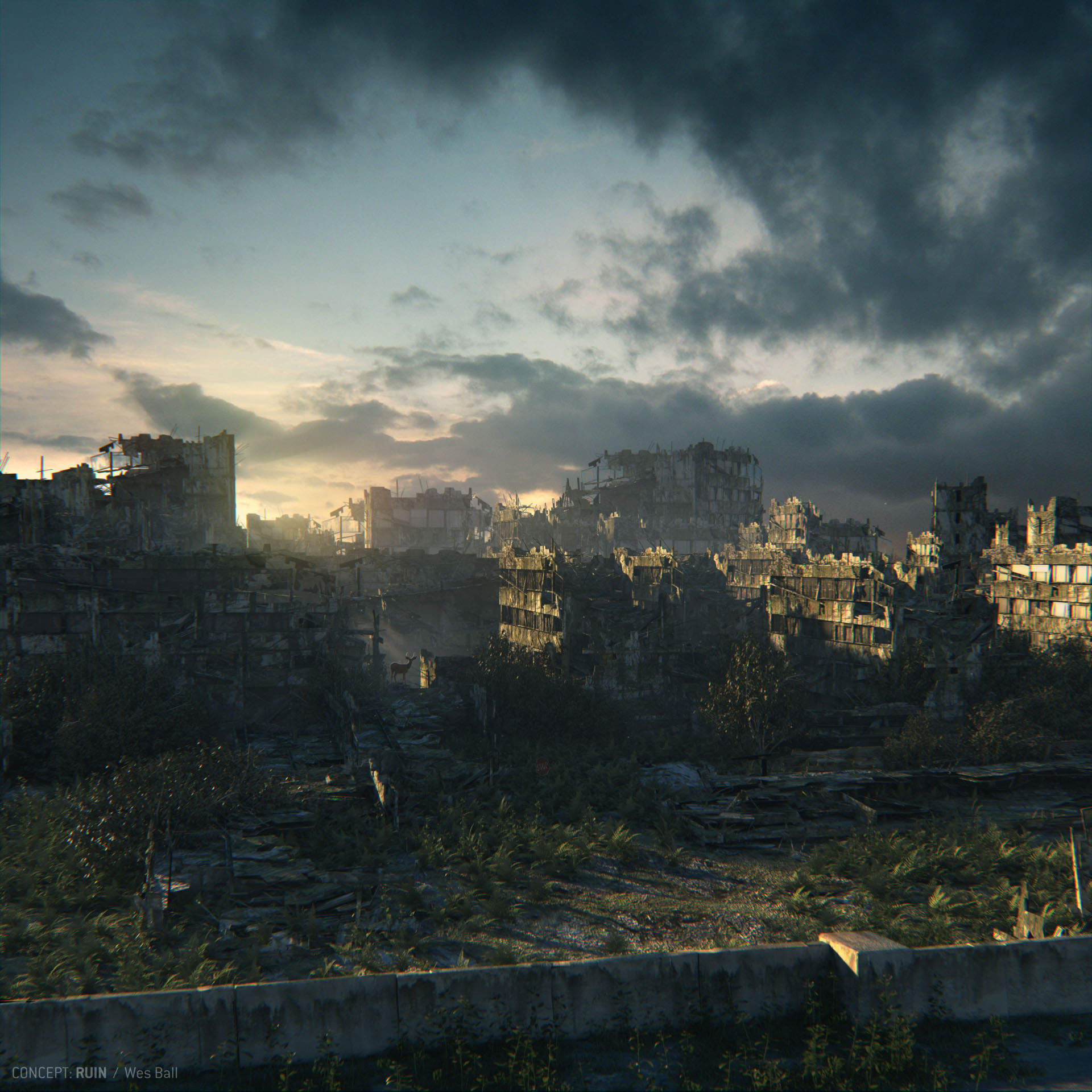 City Ruins at Dusk 3D Sci fi VideoCoolvibe Digital Art