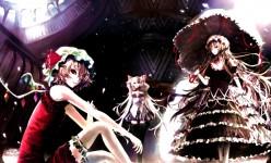 touhou umbrella vampire white_hair wings yakumo_yukari