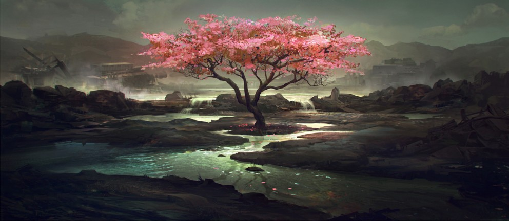 paintings scenery landscapes wallpaper tags hope japan landscape ... Japanese Cherry Blossom Landscape Painting
