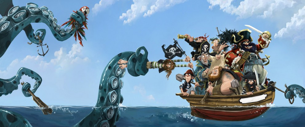illustration cartoon pirates