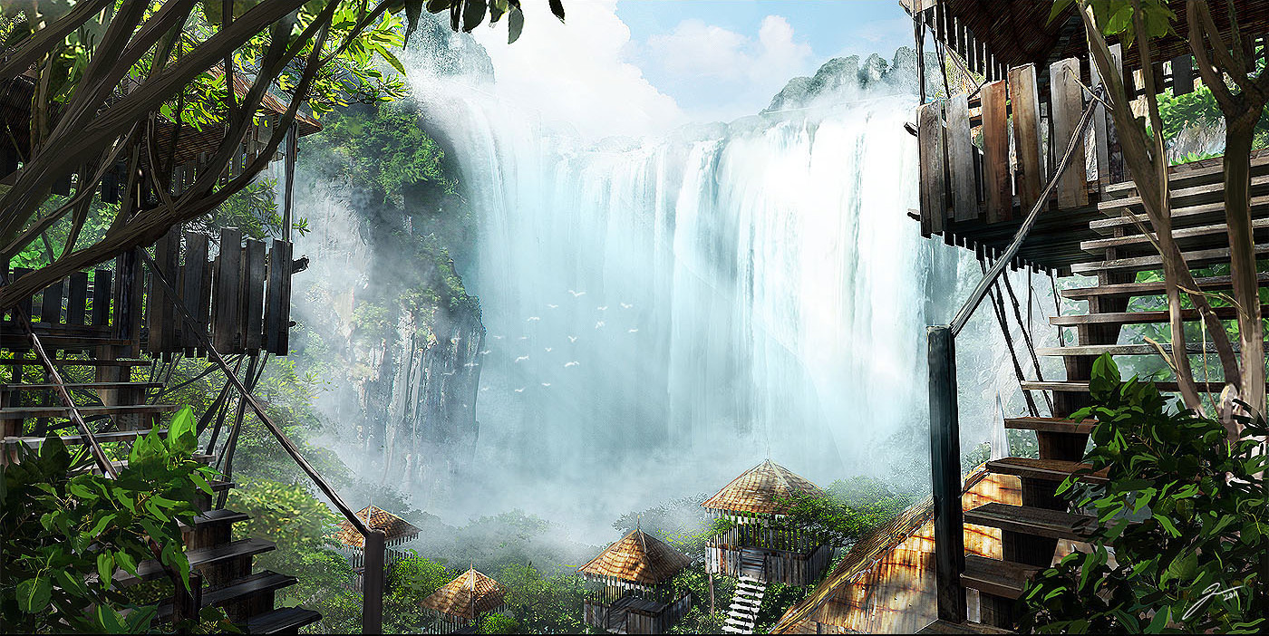 2D Wallpaper: Waterfall Hut - 2D Digital, Concept art, Digital