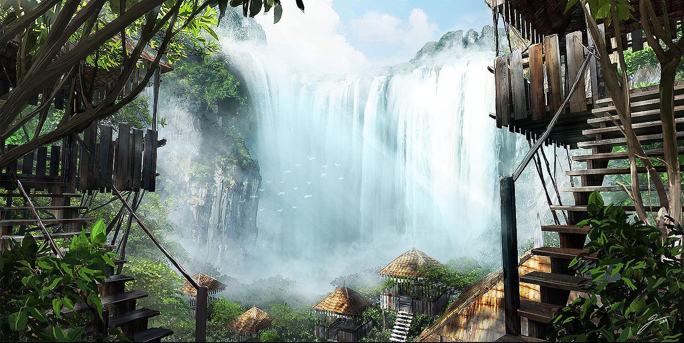 2D Wallpaper: Waterfall Hut - 2D Digital, Concept art, Digital
