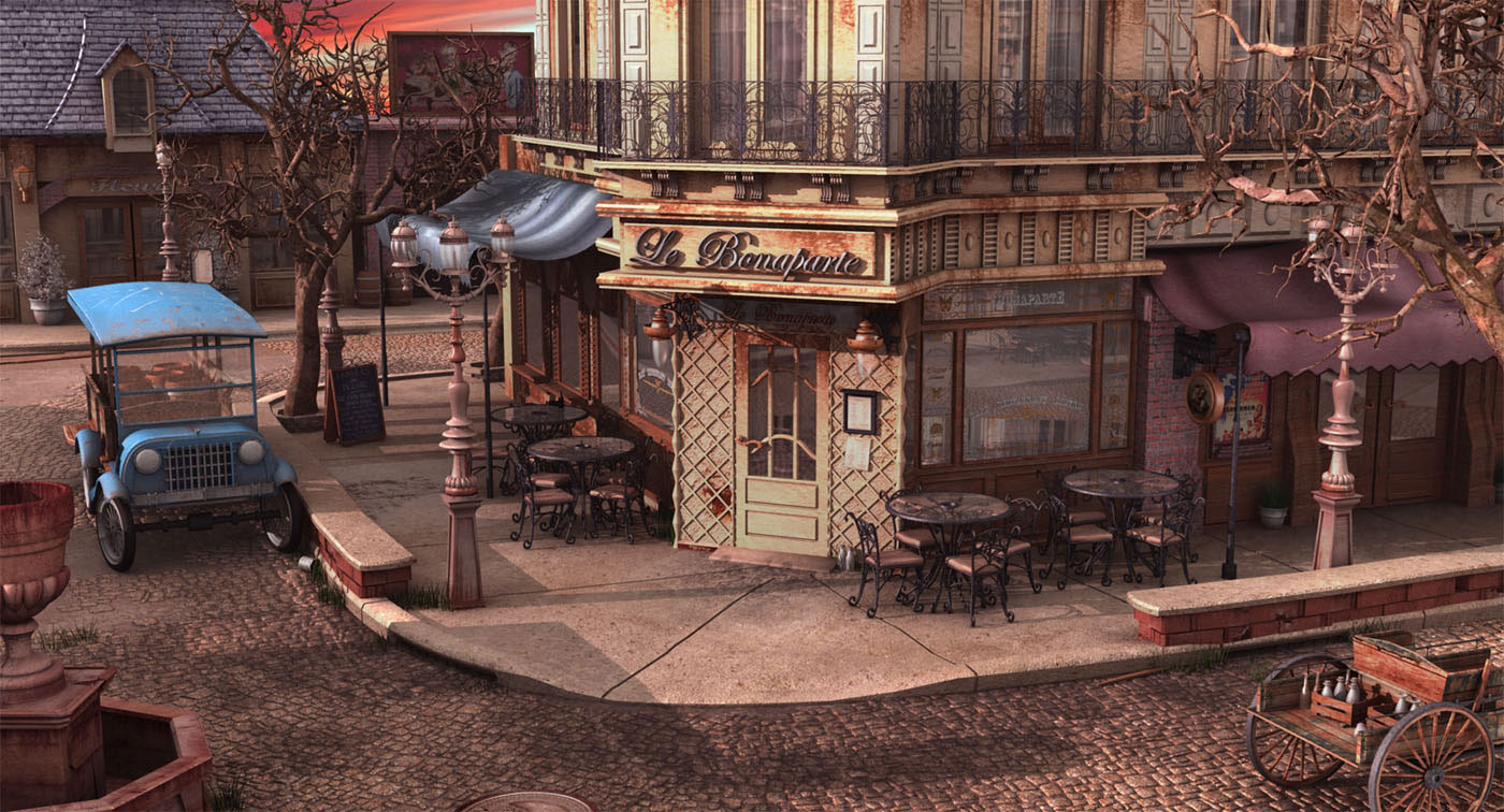 Wallpaper Art: French Bistro at Sunset - Concept art ...