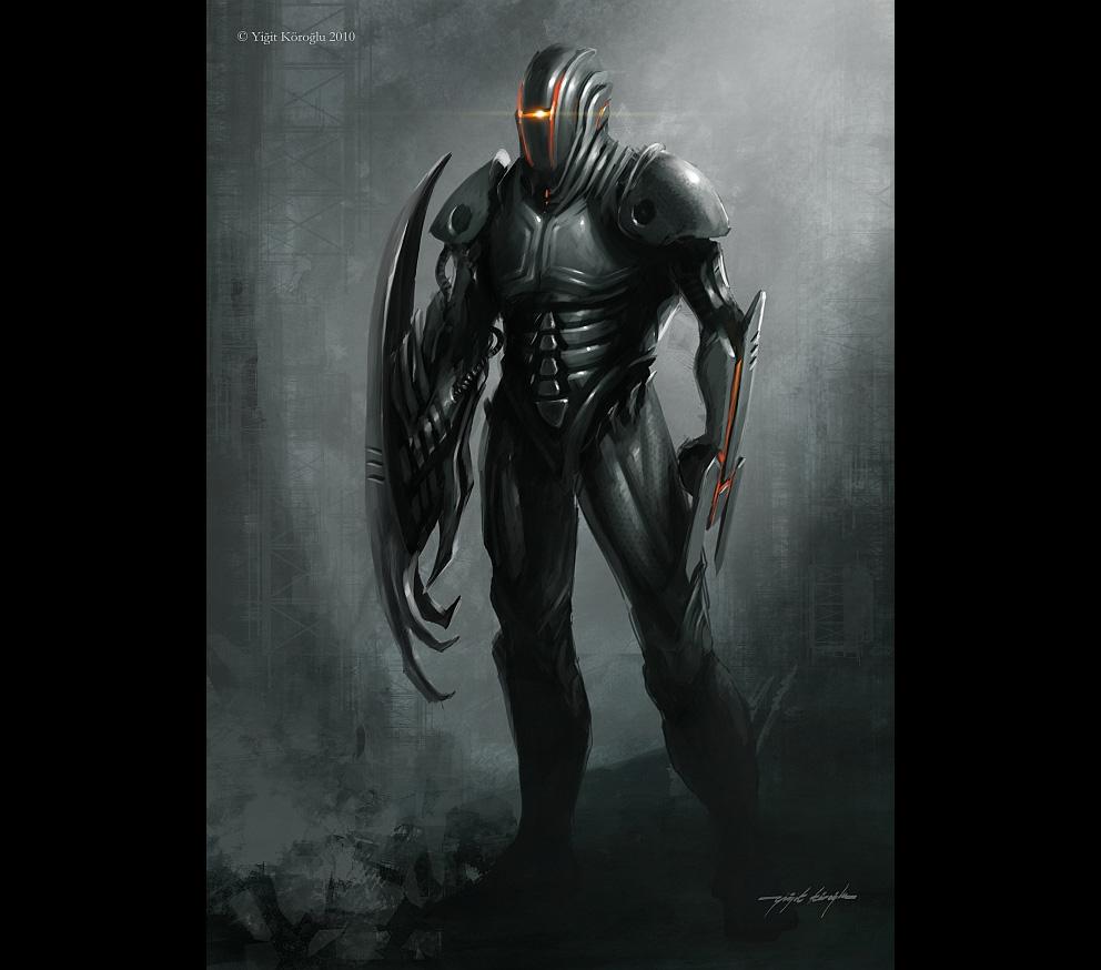 Portrait Art: Sci-fi Knight - Concept art, Digital ...