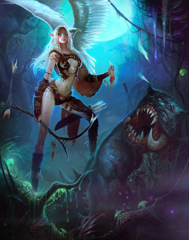 fantasy art wizard girl 2d digital digital paintings