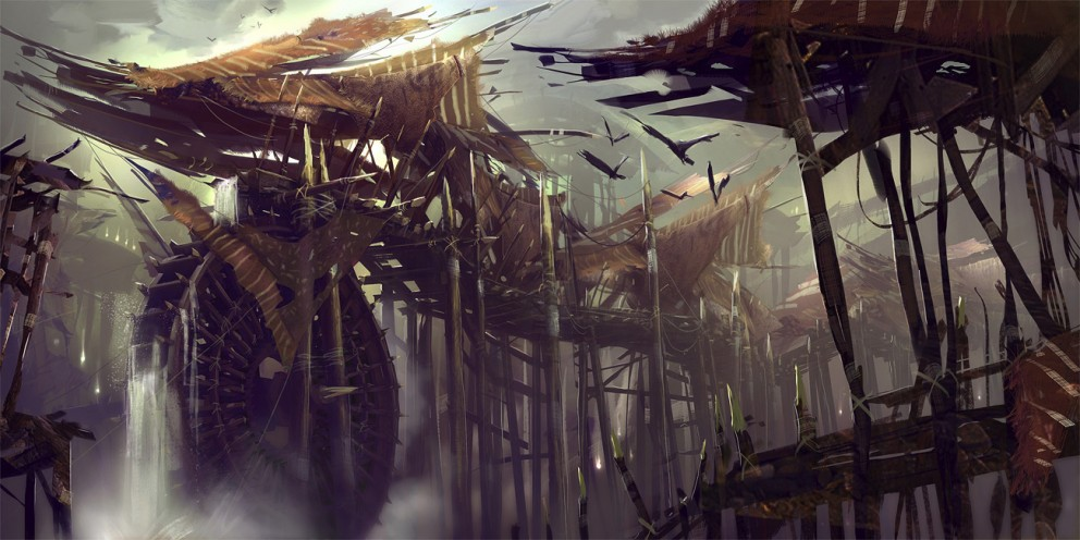 Concept Art Levi Hopkins Centaur Water Wheel