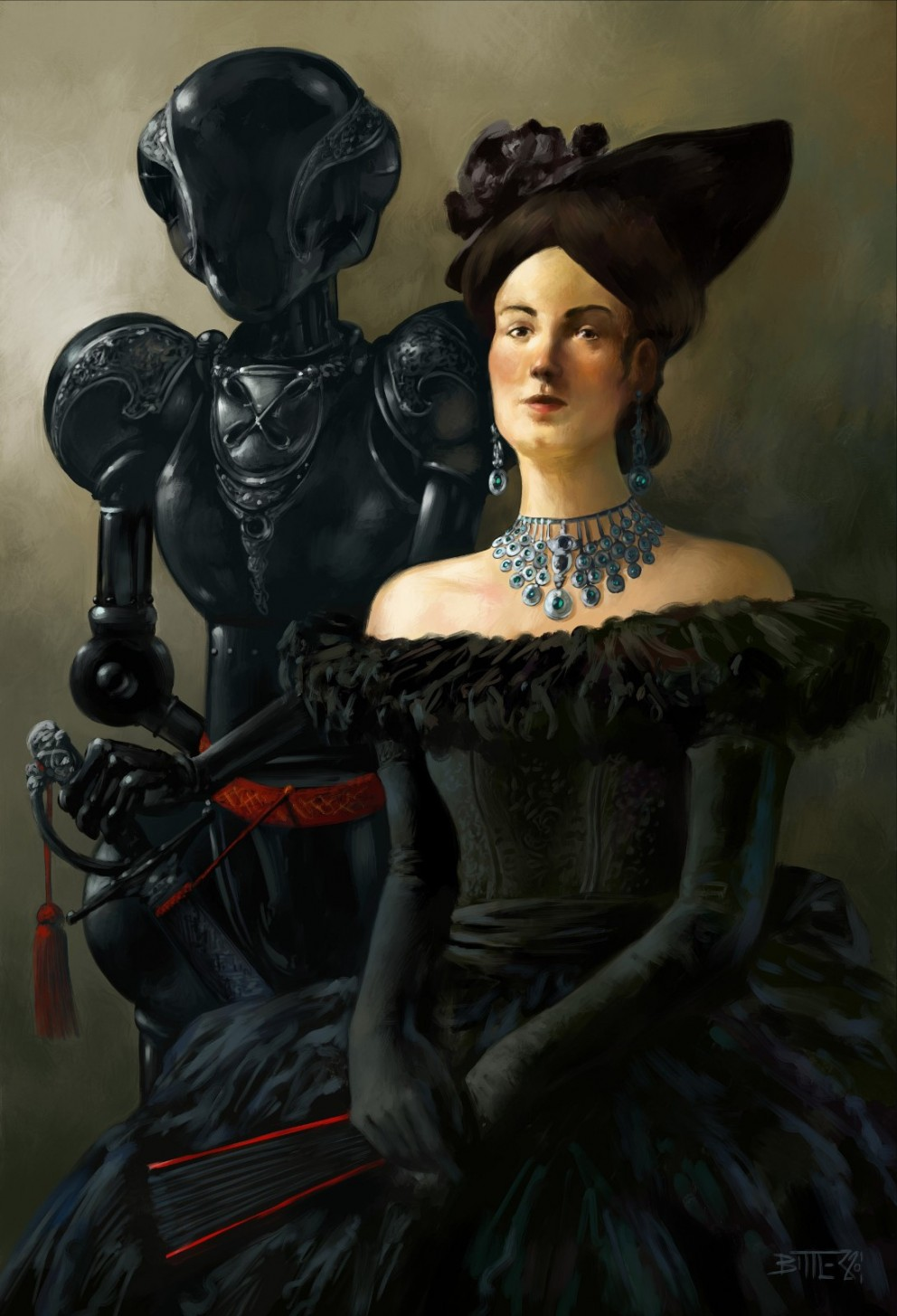 Digital Painting Bernard Bittler Lady with Robot