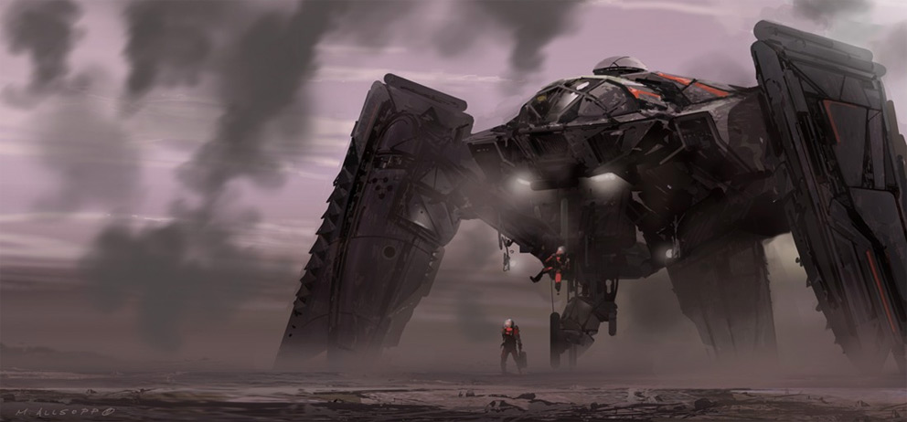 Sci-fi Art Matt Allsopp Drop Ship Touchdown 