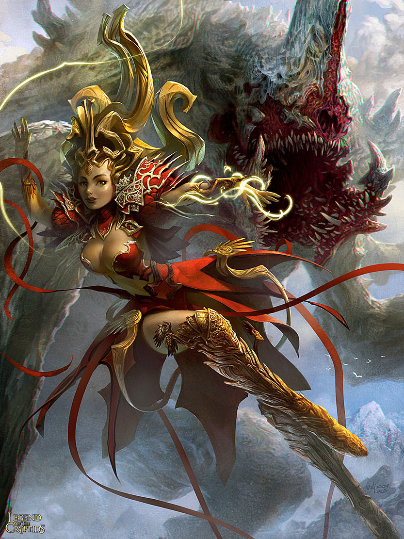 Fantasy Art Svetlin Velinov Female Sorcerer and Phantom Beast