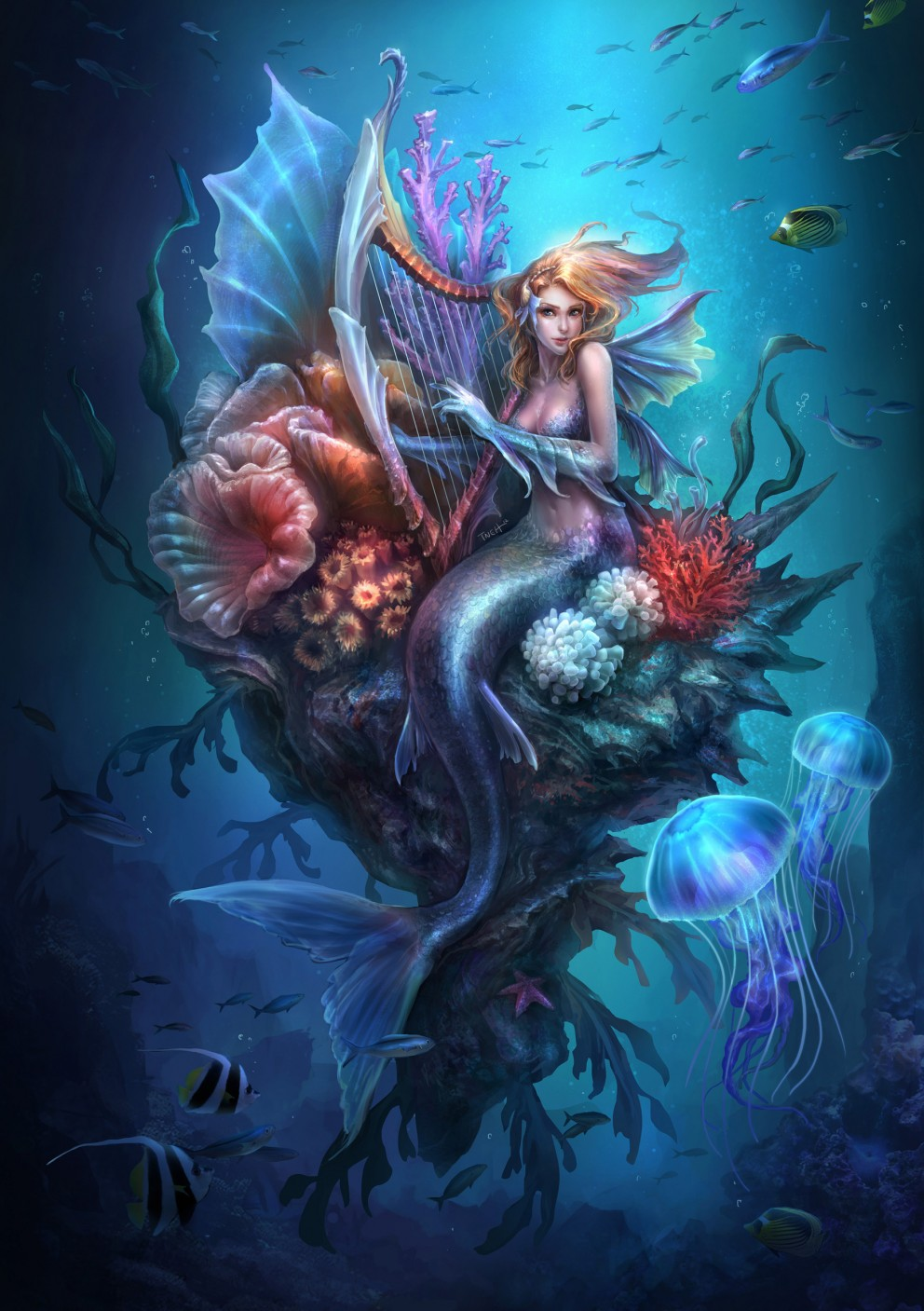 Fantasy art mermaid 2d digital fantasycoolvibe for Cool fantasy drawings