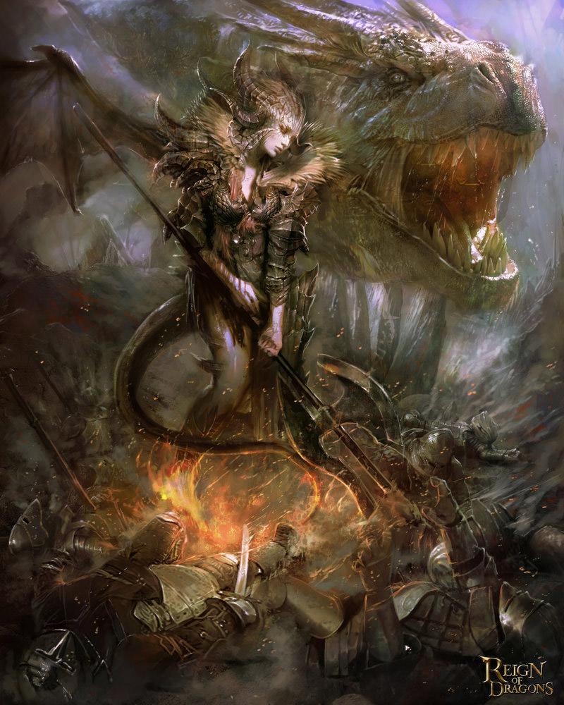 Fantasy Drawings - Fantasy Art Pablo Fernandez Dragon Queen